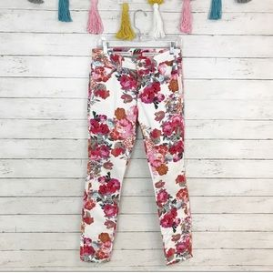 Pilcro Floral Mid-Rise Skinny Jeans Size 27 NWT